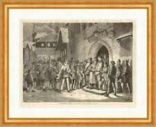 Das Perchtenlaufen im Pinzgau Hörmann K&K Tradition Brauch Holzstich E 14958