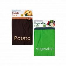 "2 VEGETABLE & POTATO SACKS FOOD STORAGE LINED BAG 14"" x 10½"" FREE US S&H"