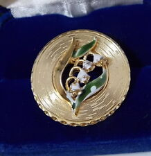 Lovely Vintage Gold tone Lily of the Valley Enamel Flower Round Brooch Pin 3b 24