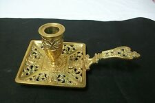 Pretty Vintage French brass Chamber Stick,  #46 square candlestick candle holder