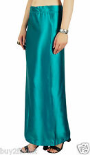 Solid Blue Saree Petticoat Underskirt Indian Satin Silk Bollywood Lining For Sar
