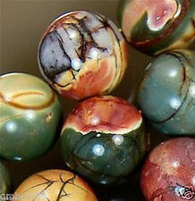"""8mm NATURAL MULTICOLOR PICASSO JASPER ROUND GEMSTONE LOOSE BEADS 15""""AAA"""