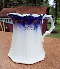 Antique Flow Blue Pitcher - La Belle - Wheeling Pottery