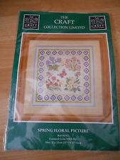 Craft Collection Large Cross Stitch Kit Spring Floral Butterflies 12.5x12.5""