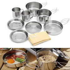 9 Pcs Outdoor Camping Backpacking Cooking Picnic Pot Pan Plate Cup Set Cookware
