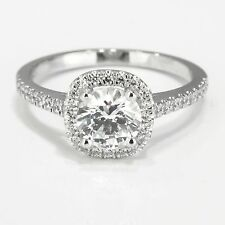 1 CT Certified Round Cut Diamond Engagement Ring 14K White Gold D/SI1 Enhanced