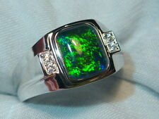 Mens Opal Ring Sterling Silver, Natural Opal Triplet. 10x8mm Rectangle. 060626