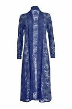 Ladies Lace Front Open Long Sleeves  Women Full Length Crochet Maxi  Cardigan
