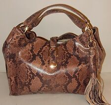 New G.I.L.I. Stirrup Leather Hobo Bag in Brown Snake