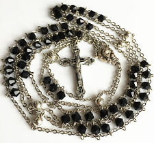Black Crystal & Silver Rose Beads LADDER ROSARY CROSS catholic GIFT necklace