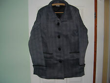 Ladies Black And Grey Patterned Three Quarter Length Coat Large Size (New)