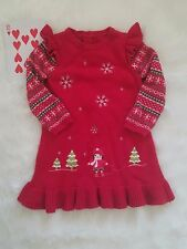 Gymboree Girl's Toddler Christmas Winter Dress Cotton Knit Red 3T Long Sleeves