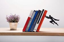 Book & Hero Bookend Black Metal Superhero Unique Bookends, Cool Book Stopper