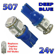 2 x Blue 24v Capless Side Light 507 501 W5W 5 SMD T10 Wedge Bulbs HGV Truck