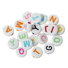 2000PCs Multi-color Round Acrylic Beads Carved Letters/Alphabets 7 x7mm
