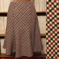 HOBBS check skirt UK 10 red navy print wool knee-length flared circle A-line