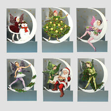 6 3D Moon Fairy Christmas Cards by Courtier with Fold Back Glitter Wings