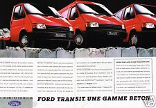 Publicité advertising 1987 (2 pages) Fourgon Utilitaire Ford Transit