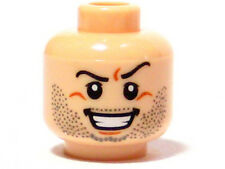 LEGO - Minifig, Head Beard Stubble, Arched Eyebrow, Bared Teeth Pattern