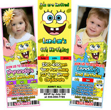 Spongebob Sponge bob BIRTHDAY  PARTY TICKET INVITATIONS personalized photo