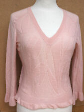 Auth LOUIS VUITTON Baby Pink Cashmere Silk Fine Knit Sweater S