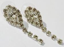 boucles d'oreilles percées bijou vintage couleur or blanc cristal diamant * 742