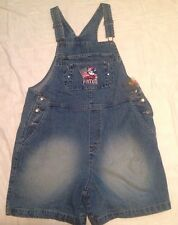 Disney MICKEY MOUSE PRIDE Bib Overall Cotton Denim Shorts Coveralls Womens LARGE