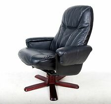 Retro Vintage Recliner Chair Swivel Armchair Black Leather Swivel Lounge Chair