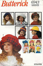 Butterick Children's Fashion Hats Pattern 6943 Size S,M,L UNCUT