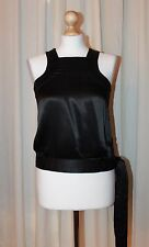 French Connection Black Satin Look Racerback Side Tie Top Size 8
