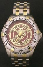 US MARINE CORPS MEDALLION WATCH - STEEL AND GOLDTONE WITH USMC EMBLEM - NEW