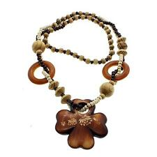 Vintage Ethnic Wooden Cross Flower Long Sweater Chain Necklace Pendant Jewelry
