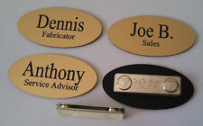"Custom OVAL Name Tags Gold - Black letters  w/ magnetic attachment 1.25"" x 2.5"""