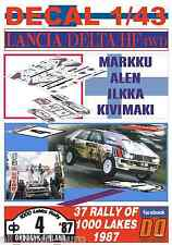 DECAL 1/43 LANCIA DELTA HF 4WD MARKKU ALEN 1000 LAKES RALLY 1987 WINNER (01)