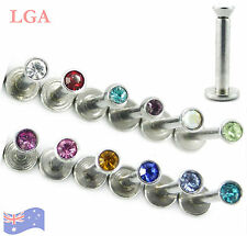 5 x Monroes Labrets INTERNALLY THREADED Choose 5 clrs gems tragus lip 16g 8mm