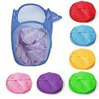 4 PC Set Folding Laundry Bag Basket Clothes Storage Bags Hanger
