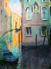 "Well Listed American Artist Nino Pippa Painting of Venice Side Canal 12"" X16"""