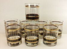 Vintage Culver Glasses 8 pc Set Devon Black & 22K Gold Whiskey Rocks Mid Century