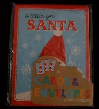 A Letter To Santa Card Set 6 w Red Envelopes Kids Write Christmas Holiday