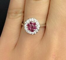 14K Solid White Gold Cluster Ring With Natural Ruby & CZ . Sz 7.5