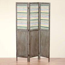 Sublime Paravent en bois Marron avec lames/ouvertures colorées 180x120cm