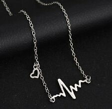 Free Gift Bag Silver Plated Heart Beat Pendant Necklace Jewellery Medicine Xmas