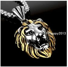 Fashion Jewelry Stainless Steel Silver Gold Mens Lion Head Pendant Necklace