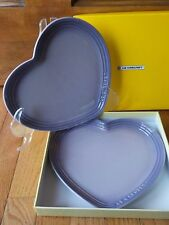 Le Creuset BLUEBELL (PURPLE) Heart Set of 2 Plates, New in Box