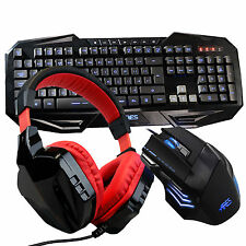 ARES K5 7 LED Colors Gaming Keyboard CT-820 Red Headset T80 Wired Mouse Combo
