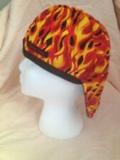 WELDIN`~~~~~G CAPbiker cap org-yell flames CAP  ~~~~REVERSIBLE ALL COTTON