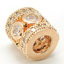 High Quality Cz Clear Stones Rose Gold Tone Charm European Bead Compatible for M