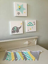 SET OF 3 HANDMADE GREY YELLOW GREEN ELEPHANT CLOUD STAR CANVASES baby nursery