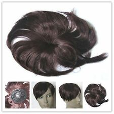 cherry red clip in fringe bangs hide bald grey patch hairpiece extension toupee