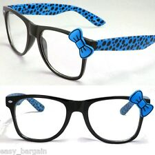 Blue Wayfarer Clear Lens Polka Dot Sunglasses Bow Bowknot Hello Kitty Nerd